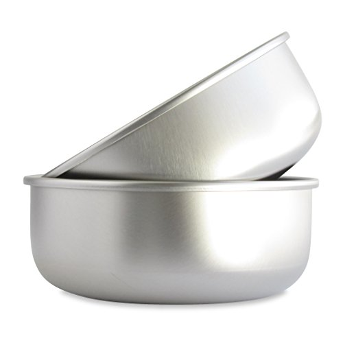 Basis Pet Made in The USA Stainless Steel Dog Bowl, Large (8 Cups), 2 Pack