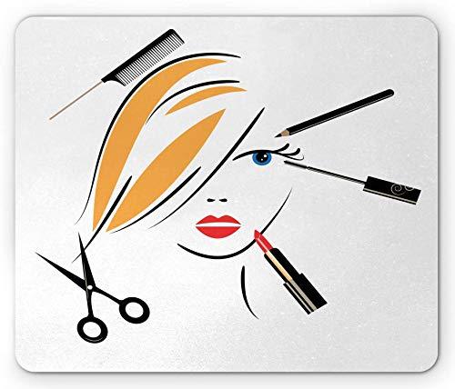 Tapis de Souris pour Salon de Coiffure, Concept de Salon de beauté Maquillage Rouge à lèvres et Ciseaux pour Peigne de Coiffure, Tapis de Souris en Caoutchouc antidérapant rectangulaire Noir Jaune -