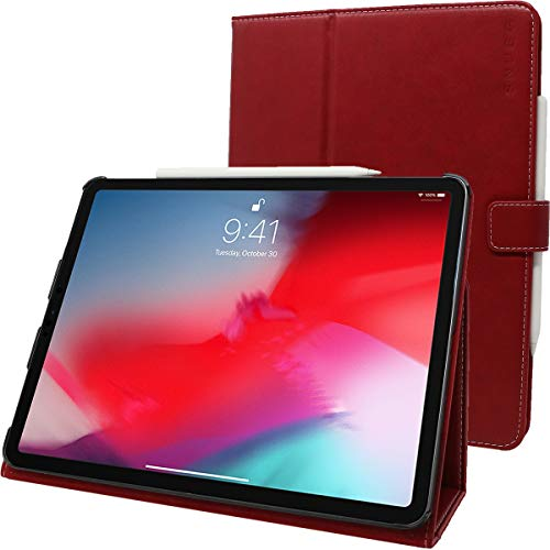 Snugg iPad Pro 2018 12.9' Leather Case, Flip Stand Cover Dusty Cedar Red