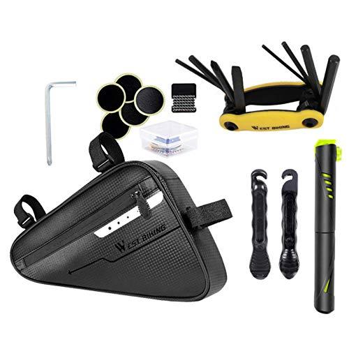 Bicycle Repair Kit Tool Set, Bike Cycling Repair Tools, Bike Repair Kit for Road and Mountain Bikes Includes Mini Pump with Saddle Bag, Crowbar, Chain Divider