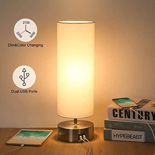 USB Bedside Touch Control Table Lamp 3 Way Dimmable & 3 Color Modes Desk Lamp with 2 USB Charging Ports, Boncoo Modern Nightstand Lamp Ambient Light Round Shade for Bedroom Office 6W LED Bulb Included