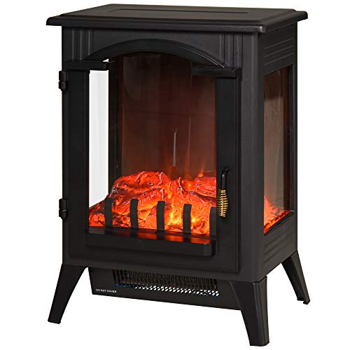 HOMCOM 750W/1500W Modern Electric Fireplace Heater with Realistic LED Faux Flame Effect, Black