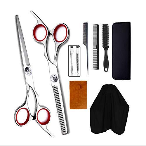 Ciseaux De Coiffure Set 10 Pièces Set Professional Hairdressing Band Peigne Flat Cut Teeth Shear Thinning Hair Cutting Scissors Set Hairdressing Sciss