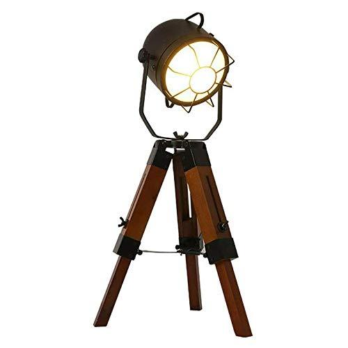 Lámpara de escritorio LED, lámpara de lectura en diseño clásico de madera, ajustable, vintage, lámpara de mesa de noche con tres patas E27