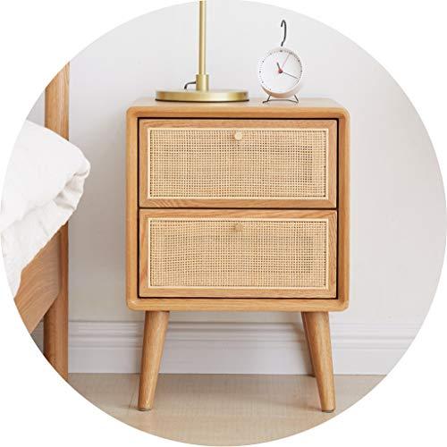 Tische Beistelltische Nachttisch Schlafzimmer Nachtdoppel Fach-Speicher-Schließfach Nacht Rattan Nachttisch Sofa Side-Maschine Ecktisch (Color : Brown, Size : 40 * 35 * 54cm)