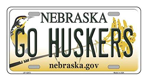 Go Huskers Novelty Metal License Plate (with Sticky Notes)