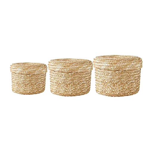 Woven storage basket, round table top with lid, sundries, cosmetic storage basket, fruit snacks, dried fruit storage box