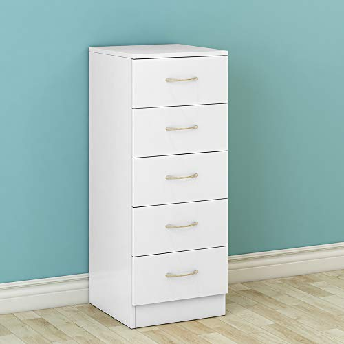 NRG White Chest of 5 Drawers With Metal Handles Tall Narrow Storage Cabinets Unit Bedroom Furniture 34.5x36x90cm