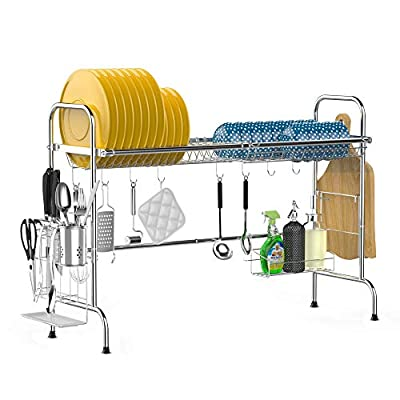 Over the Sink Dish Drying Rack, iSPECLE Large Premium 201 Stainless Steel Dish Rack with Utensil Holder Hooks for Kitchen Counter Non-slip by iSPECLE