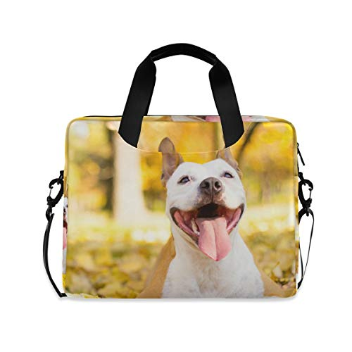 XIXIKO Animal Dog Fall Leaves Laptop Bag Expandable Trolley Briefcase Bag for Women Men with Detachable Strap for Work Trip Business Travel iPad MacBook
