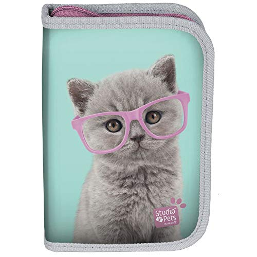 Kinder FEDERTASCHE 22-TEILIG - Studio Pets - Baby Katze - GRÜN/PINK