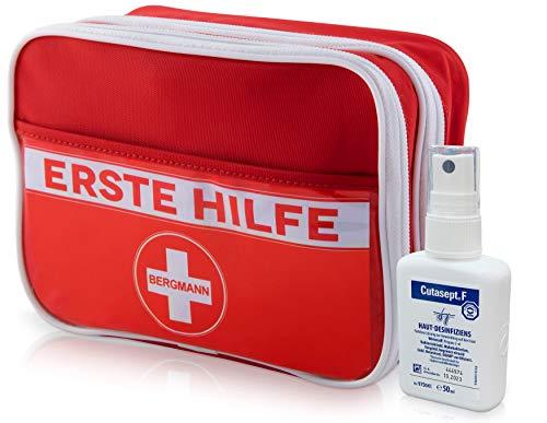 Erste Hilfe Set, deutschsprachig + Cutasept【gratis】Desinfektionslösung, Notfall-spezifischer Inhalt - handlich, fachlich sortiert - Wandern, Reise, Zuhause, Büro, Outdoor, Pflaster, Strips