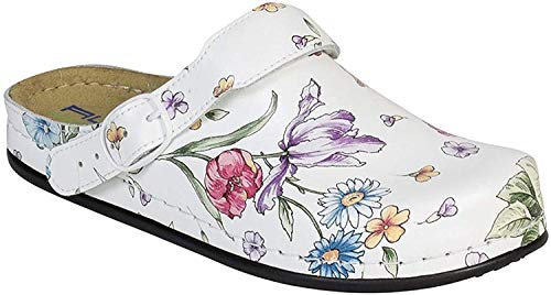 AWC Damen Berufsschuhe Tiefbett, Farbe: DEKO White Flower, Größe: 40