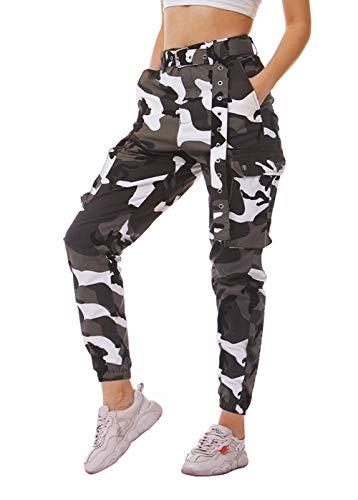 IDGREATIM Damen Hosen Camouflage Cargohosen Casual Baumwolle Jogginghose Sporthose Military Freizeithose mit Gürtel (White 1, XXL)