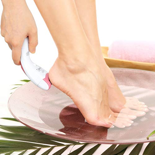 Kealive Callus Remover Electric Waterproof Foot File Pedicure Tools for Dead Hard Cracked Skin, Two Batteries, One Replace Head, One Small Brush
