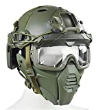 WLXW Tactical Airsoft Mask/PJ Type Tactical Paintball Helm und Tactical Brille Mit Doppeltem...