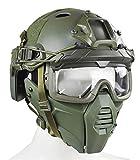 WLXW Tactical Airsoft Mask/PJ Type Tactical Paintball Helm und Tactical Brille Mit Doppeltem Trage-Modus Für Airsoft Paintball Schutzausrüstung, Halloween, Cosplay,Grün