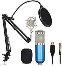 Professional USB Condenser Microphone Bundle,BM800 XLR 3 Pin Mic Kitwith Adjustable Boom Scissor Arm Stand,Shock Mount,Pop Filter USB Audio Cable for Computer YouTube Singing Studio Recording & Bro