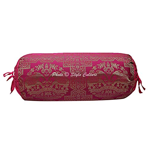 Stylo Culture Polidupion Indian Cilíndrica Fundas De Almohadas 70x40 Yoga Decorativo Fundas para Almohada Bolster Covers Oro Rosado Elefante Brocado Redondo Grande For Sofa (1 Pc)