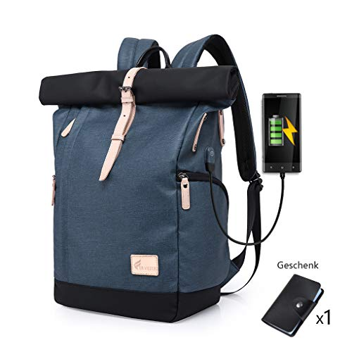 Cornasee Wasserdicht Laptop Rucksack 15,6 Zoll für Männer und Frauen Diebstahlsicherung Tagesrucksack Schulrucksack College-Rucksack,große Kapazität 30L (Blau - Neu)