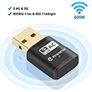 Zoweetek 600Mbps WiFi USB Adapter, 802.11ac Wireless Network Dongle with Dual Band 2.4GHz (150Mbps) /5GHz (433Mbps) for Windows XP/7/8/10 and Mac OS X 10.6-10.12