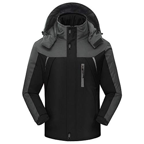 ZXHDP verdicken Winter Fleece Jacke und Mäntel Outwear wasserdicht Winddicht warm Climb Mountain Jacke Herren Windbreaker Down Parkas schwarz L