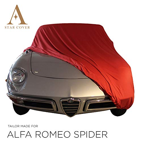 Telo COPRIAUTO da Interno DESTINATO A Alfa Romeo Spider Rosso GARAGECOVER vestibilità Perfetta E Cover su Misura Consegna Rapida