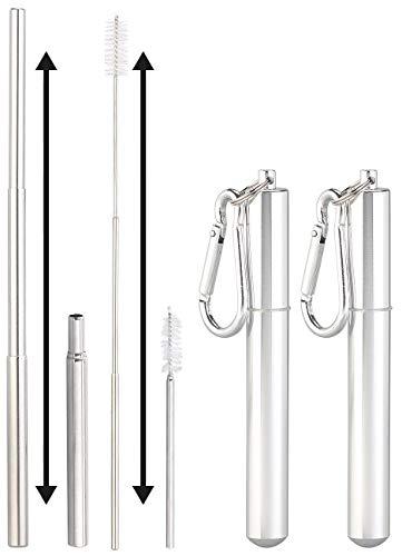 Rosenstein & Söhne Strohhalm: 2er-Set Teleskop-Edelstahl-Trinkhalme mit Bürste, Schlüsselanhängerbox (Metalltrinkhalme)