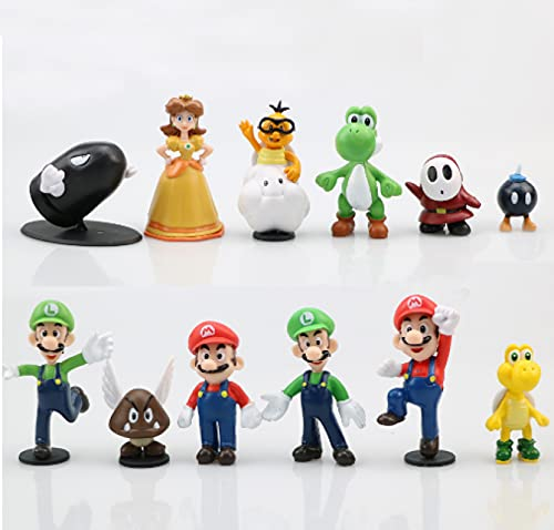 12Pcs Anime Moc Action Mini Figuras Super Cute Mario PVC Cartoon Dolls Model Peach Princess Luigi...