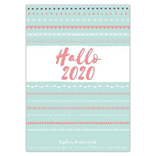 Familienplaner 2020 5 Spalten - DIN A3 Familienkalender 42 x 29,7 cm - für 5 Personen mit Schulferien und Vorschau für 2021 - von Sophies Kartenwelt