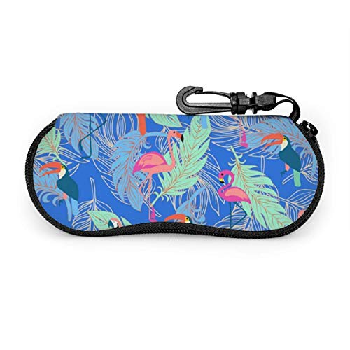 AOOEDM Tragbare Reisereißverschluss-Sonnenbrille Hartschalenkoffer Augen Brillen-Box-Tasche (Exotic Tropical Birds)
