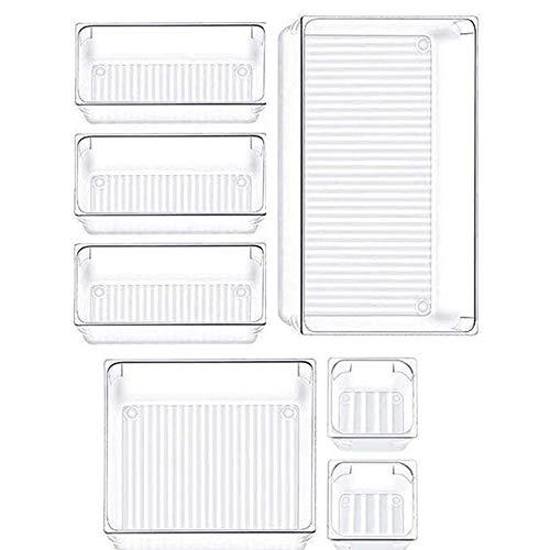7 Piezas Organizadores Transparentes para Cajones, Cajas Bandejas de Plástico Apilables Almacenamiento, Organizador de...