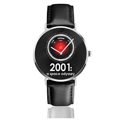 Unisex Business Casual 2001 A Space Odyssey inspirierte HAL 9000 Armbanduhr Quarzuhr Lederband schwarz für Männer und Frauen Young Collection Geschenk