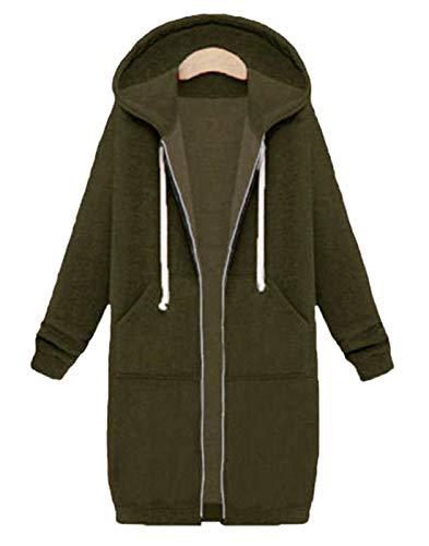 Hifanmall Damen Strickjacke Casual Mantel Hoodie Zipper Hoodies Sweatjacke Langer Manteljacke Oversized Coat Outwear Kapuzenpullover, Army Grün, 42,XL