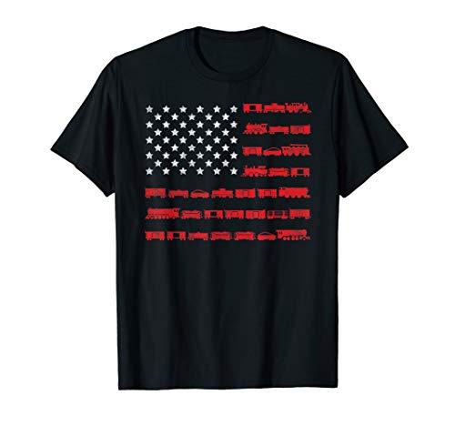 American Flag Railroad Train T-Shirt Gift