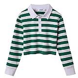 Arshiner Teen Girls Crop Tops Turn-Down Collar Crop Sweatshirt Long Sleeve Striped Cropped T-Shirt Cotton Blouses