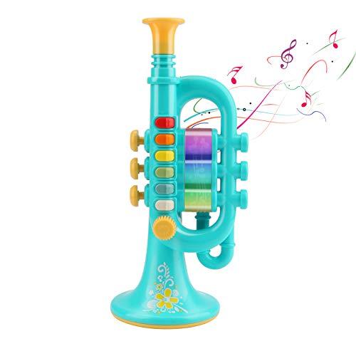 CestMall Trompete Spielzeug, Trompetenhorn mit Musik Tragbares Kindertrompete Spielzeug Kunststoff-Trompete Spielzeug mit beleuchtetem Musikinstrument, Trompetenspielzeug Geschenk an Jungen Mädchen