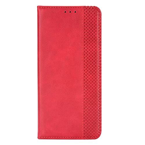 FINEONE Custodia per Xiaomi Redmi Note 9T 5G, Premium Chiusure Magnetiche Book Style Flip Folio Case Cover,Rosso