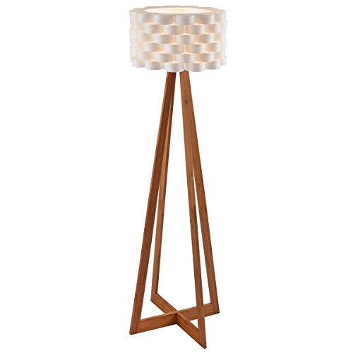 Design Stehlampe mit Papierschirm und Holzfuß, ca. 150 cm hoch, weiß/natur
