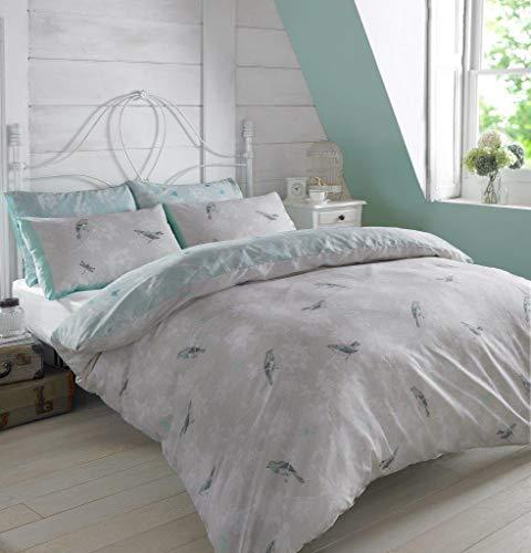 Dreamscene–Juego de funda nórdica con funda de almohada de jaula de pájaros de lujo, poliéster/algodón, luz azul, King