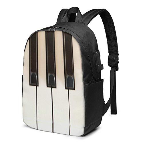 17 pulgadas mochila portátil cargador USB bookbag piano llaves escuela durable mujeres chica etiqueta tarjeta bolsa
