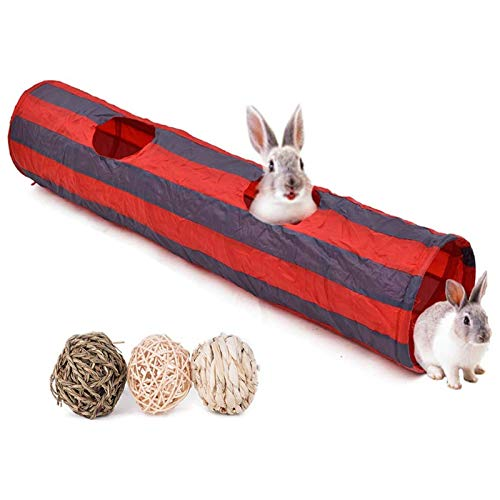 Bunny Tunnel, Rabbit Tunnels and Tubes, 3 Pack of Grass Balls - Collapsible Hideaway Small Animal Activity Tunnel Toys for Chinchillas Ferrets Guinea Pigs Gerbils Hamsters Rats, Size - 51 x 10 In