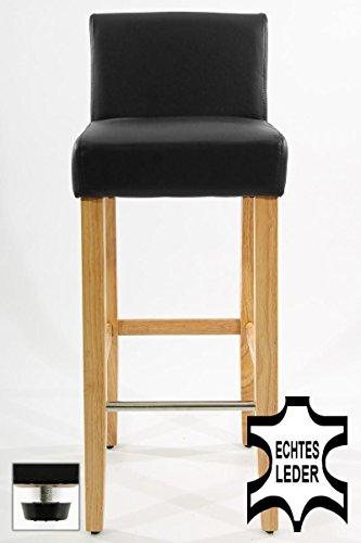 Edler Holzbarhocker schwarz Holzgestell Natur Barhocker Holz mit Lehne und verstellbaren Bodengleitern ECHT LEDER