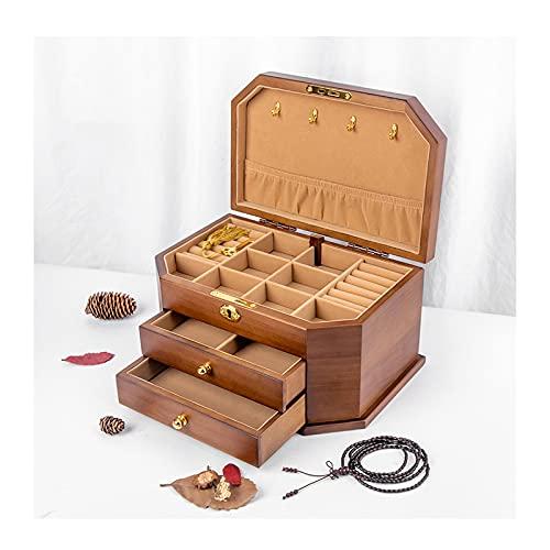 YIXIN2013SHOP Joyero organizador de joyas de madera grande con 2/3 cajones, caja de joyería vintage, anillo, collar y pendientes organizador cajas de joyería (color: color nuez, tamaño: pequeño)