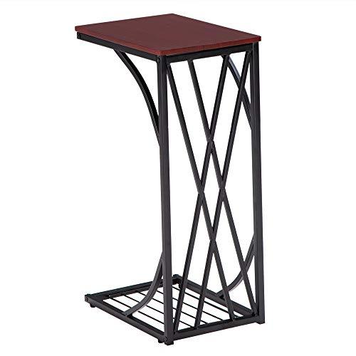 Mesa auxiliar industrial en forma de C, mesa rectangular con acabado de madera y construcción de acero, mesa auxiliar vintage para sala de estar, dormitorio y espacio pequeño