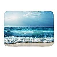 WOTAKA バスマット 風呂マット Ocean Tide Sea Beach Waves Sunbeam 足拭きマット 吸水 速乾 滑り止め 浴室 洗面所 脱衣所 風呂 台所 キッチン玄関マット(45x75cm)
