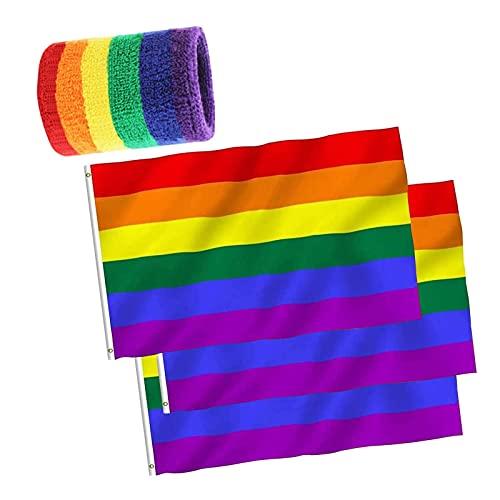 Aibada 3 x Flaggen Pride Regenbogen-Flagge Pride Flagge Gay Festival Banner 150 x 90 cm und erhalten Sie einen regenbogenfarbenen Handtuchhalter.