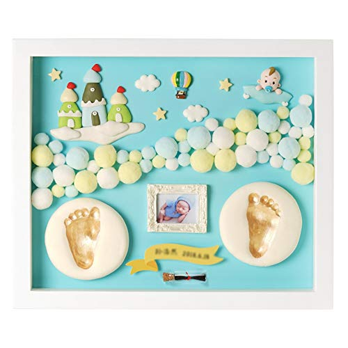 Encre bébé main et pied Encre pour mains et pieds de bébé - Div surdimensionné en bois massif innovant fait maison peut être sauvegardé pendant 0 à 3 ans, souvenir de bébé Cadre photo commémoratif pou