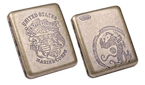 タバコケース シガレット ケース 20本収納 虎紋 & 海軍 ワンタッチ 開閉式 手巻き煙草 入れ
