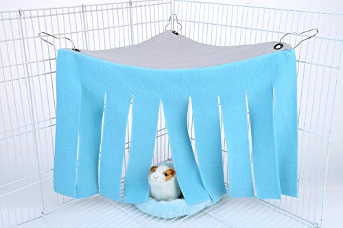 Mogoko Small Animal Hidey Curtain and Bed Pads, Warm Sleep Mat and Corner Fleece Forest Hideout for Rabbit, Chinchillas, Hedgehogs, Guinea Pigs, Hamster